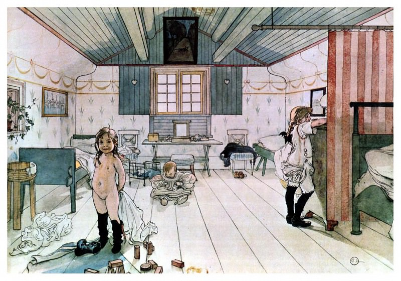 Mamas and the little girls room watercolor. Carl Larsson