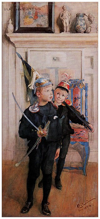 1894 Ulf and Pontus watercolor. Carl Larsson