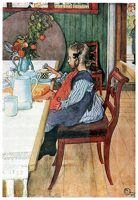1900 A Late-Risers Miserable Breakfast watercolor. Carl Larsson