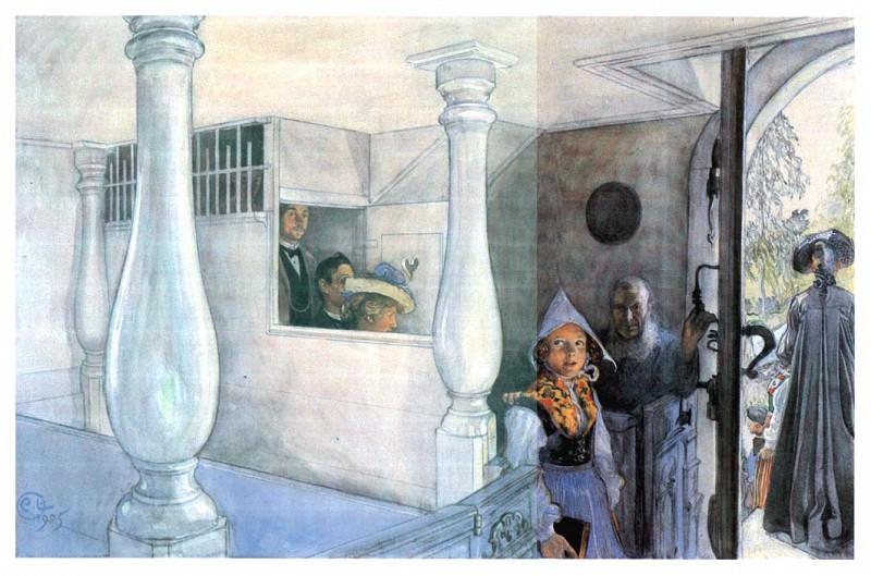 1905 In Sundborn Church watercolor. Carl Larsson