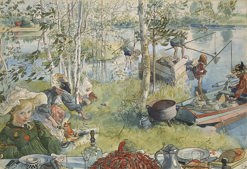 Crayfishing. From A Home. Carl Larsson