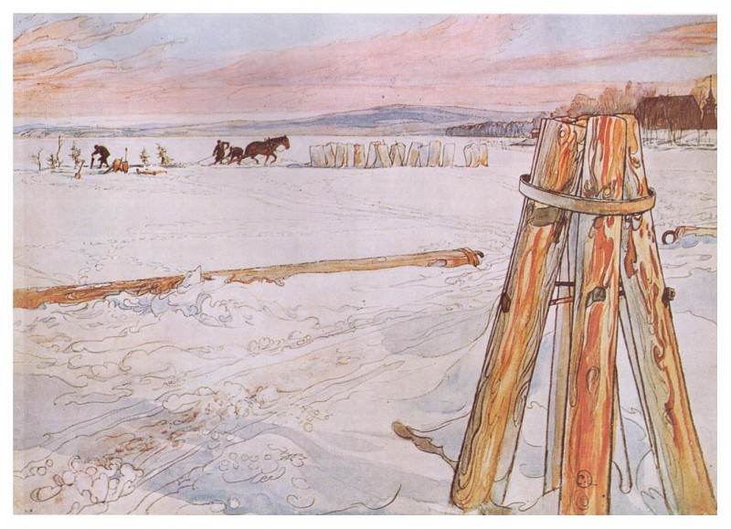 1905 Harvesting Ice watercolor. Carl Larsson