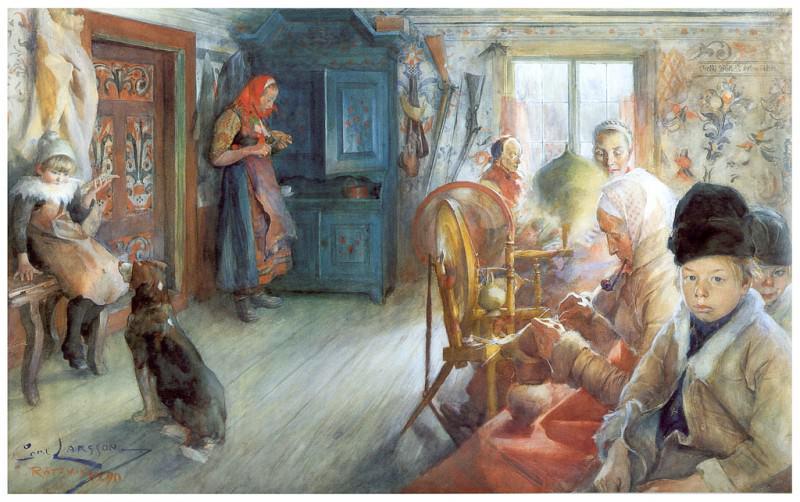 Interior campesino en invierno watercolor 1890. Carl Larsson