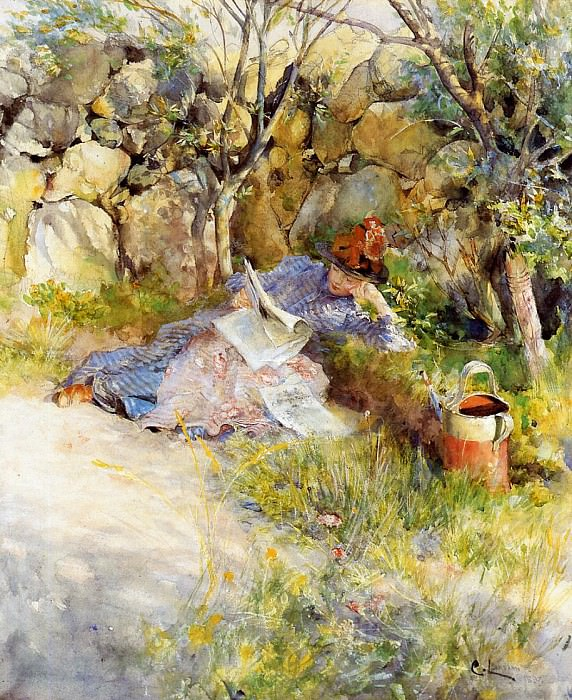 A Lady Reading a Newspaper. Carl Larsson