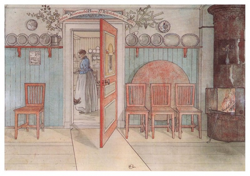 1894-97 Old Anna watercolor. Carl Larsson
