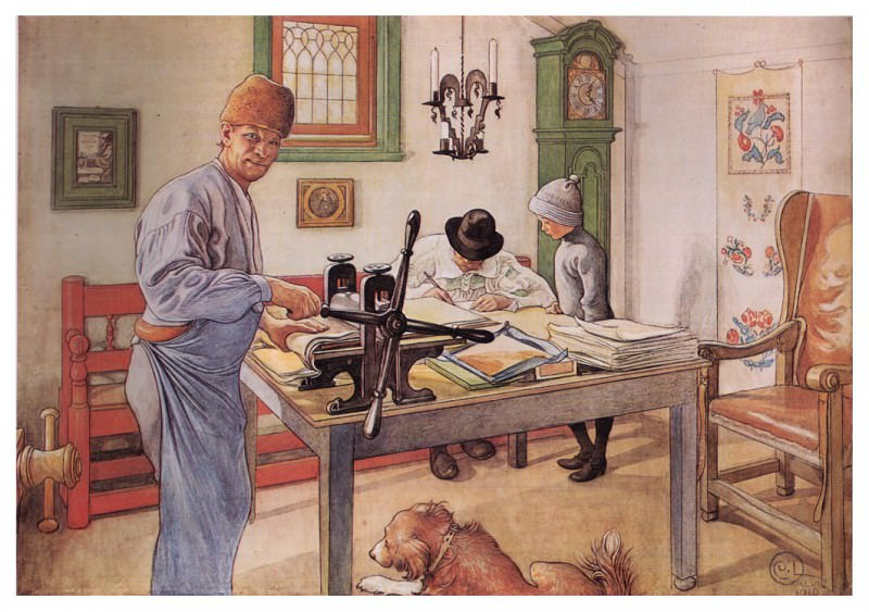 1910 Where I do my Etching watercolor. Carl Larsson