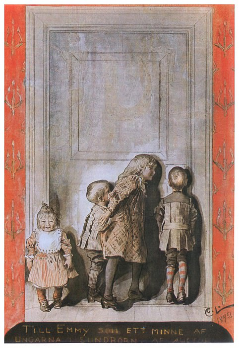 1892 The Day Before Christmas Eve watercolored pen ink drawing. Carl Larsson