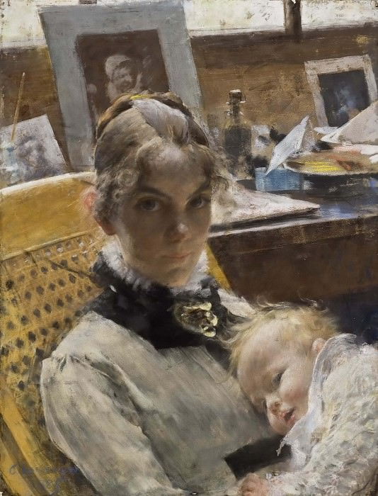 A Studio Idyll. The Artist's Wife and their Daughter. Carl Larsson
