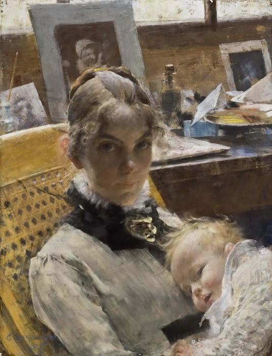 Идиллия в студии. Жена художника и их дочь. Карл Улоф Ларссон