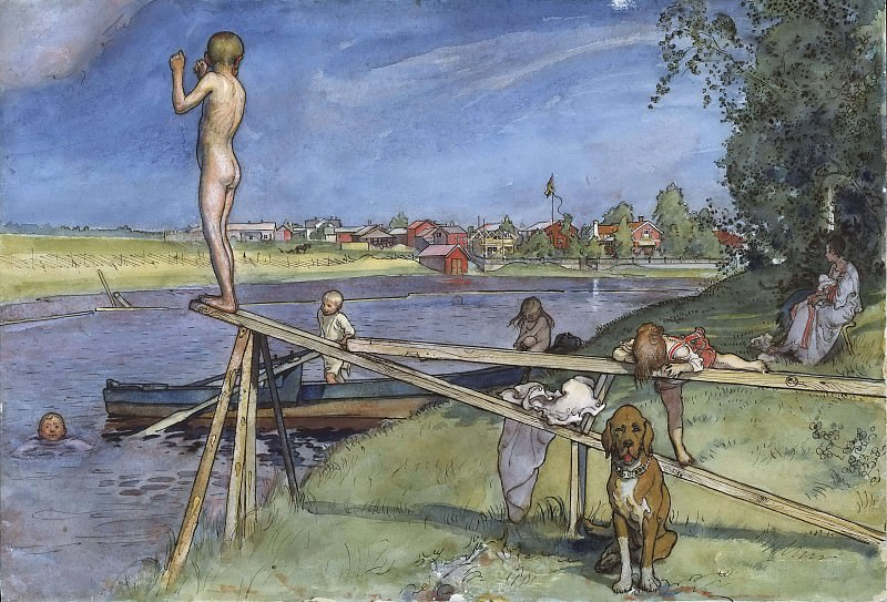 A Pleasant Bathing-Place. From A Home. Carl Larsson