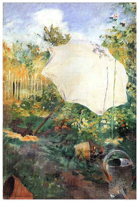 1883 Garden in Grez Sketch in oil. Carl Larsson