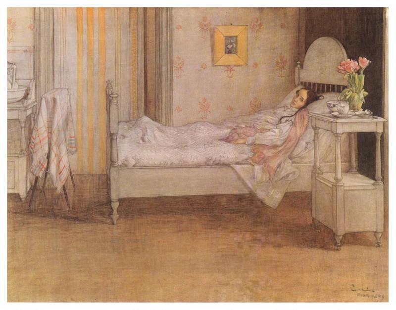 1899 Convalescence watercolor. Carl Larsson