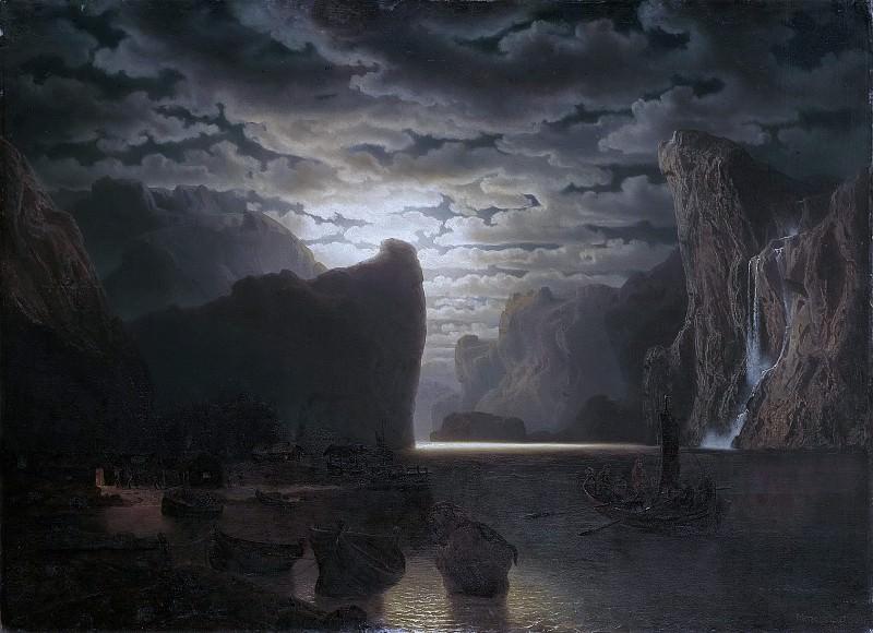 Норвежский фьорд в лунном свете. Мотив из Согне-фьорда. Маркус Ларсон