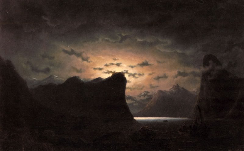 Fishing Near The Fjord By Moonlight. Marcus Larson