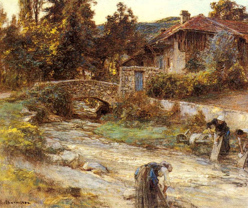 Прачки у речушки и дома на заднем плане. Леон-Огюстен Лермитт