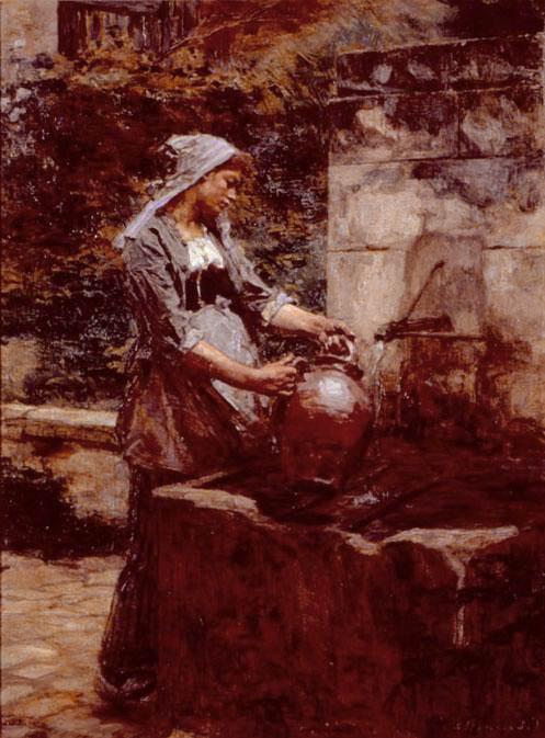 A Water Drawer. Leon Augustin Lhermitte