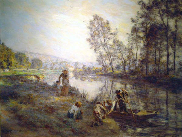 Figures by a Country Stream circa 1920. Leon Augustin Lhermitte