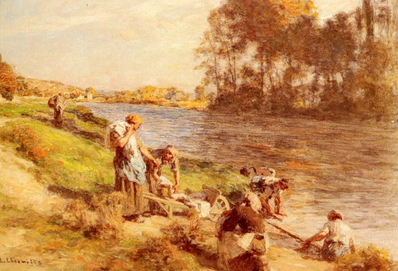 Lavandieres Au Bord De La Marne. Leon Augustin Lhermitte