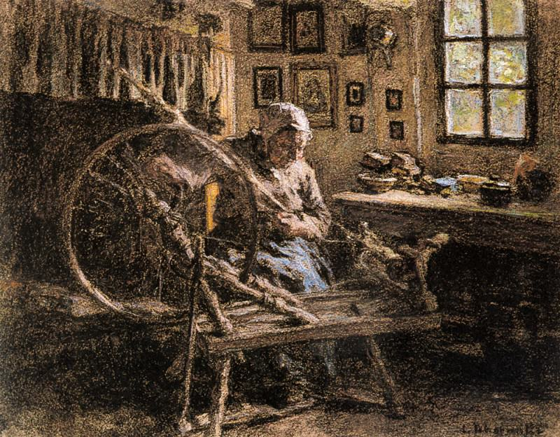 The Spinning Wheel. Leon Augustin Lhermitte