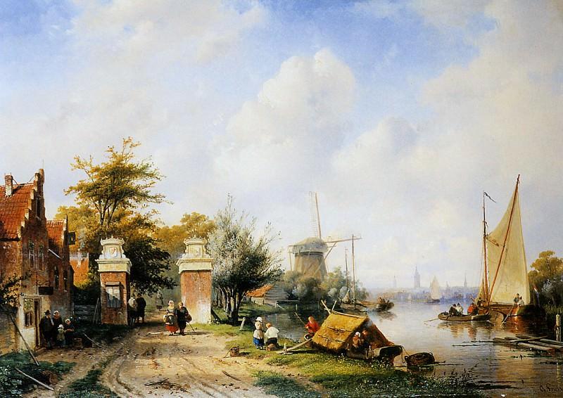 River scene with tollgate. Charles Henri Joseph Leickert