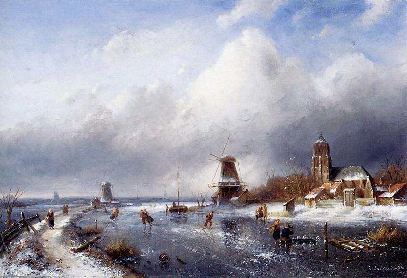 Winterlandscape with scaters. Charles Henri Joseph Leickert