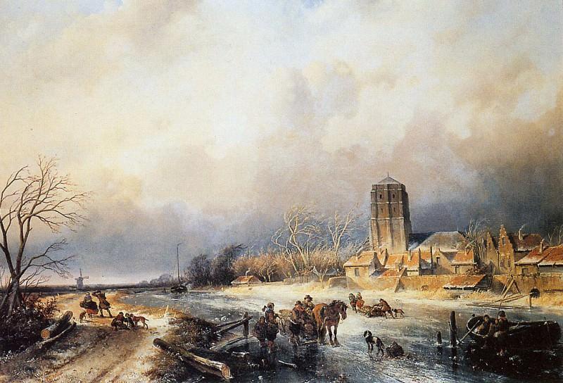 Figures on a frozen waterway. Charles Henri Joseph Leickert