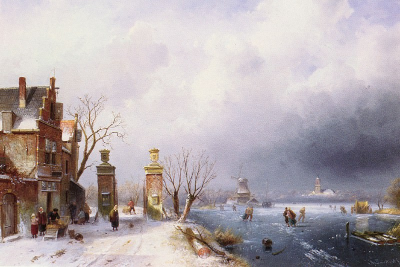 Зимний ландшафт, озаренный солнцем. Шарль Анри Жозеф Лейкерт