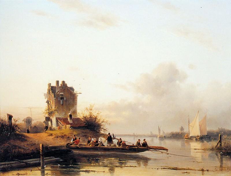 Riverlandscape with ferry. Charles Henri Joseph Leickert