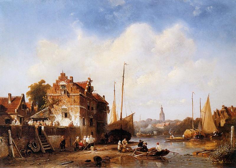 River landscape. Charles Henri Joseph Leickert