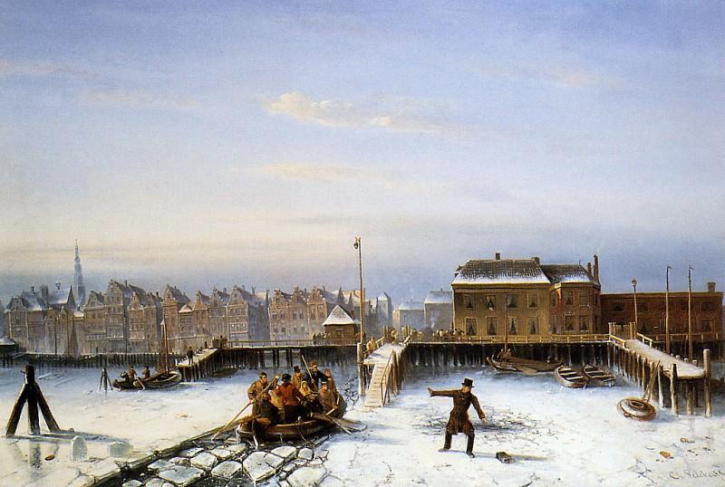 Scholten family on ice. Charles Henri Joseph Leickert