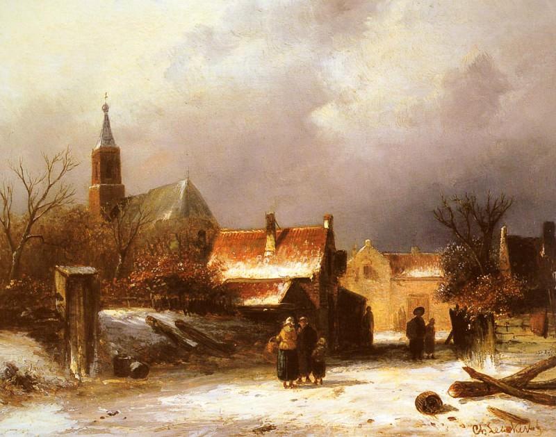 Figures On The snow. Charles Henri Joseph Leickert