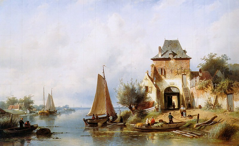 River view with gateway. Charles Henri Joseph Leickert