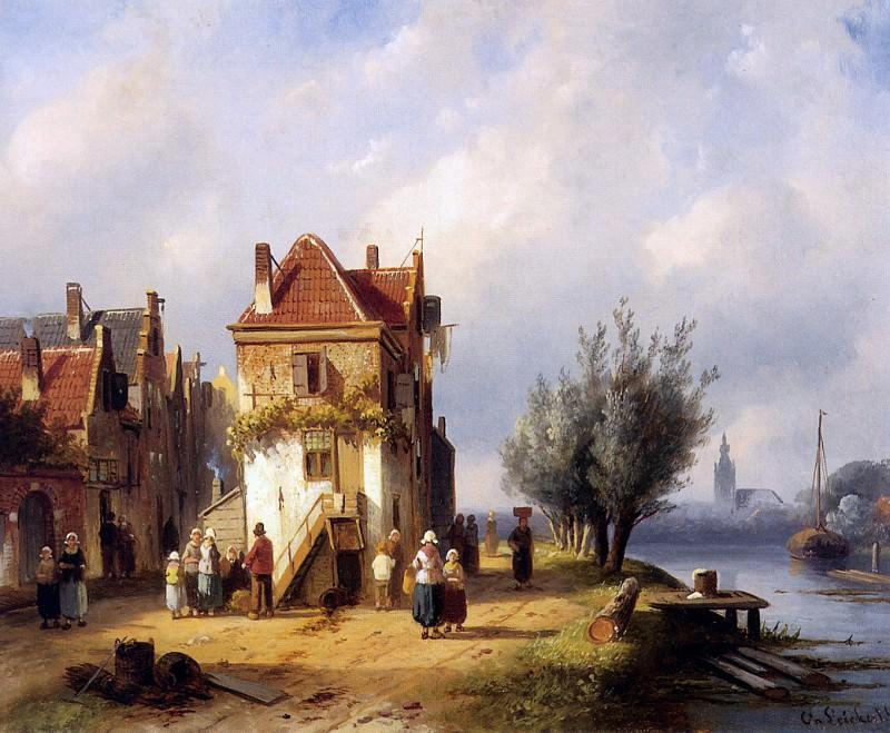 View on a village near to a river. Charles Henri Joseph Leickert