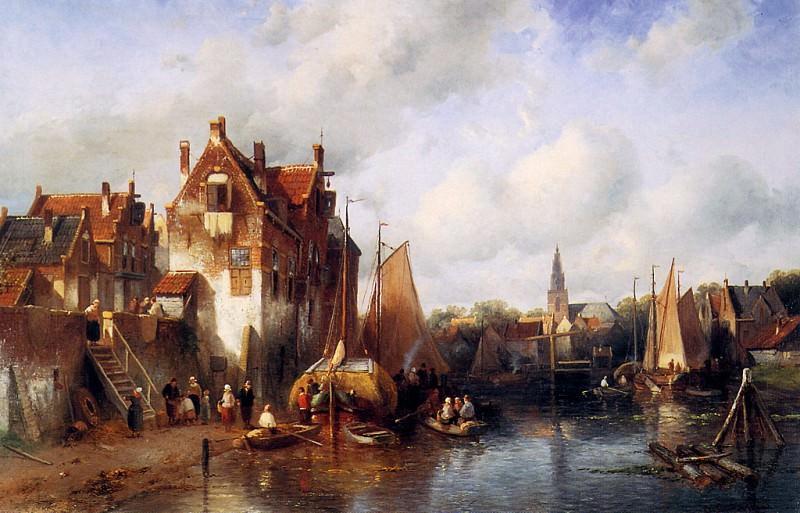Summer scene in a Dutch city. Charles Henri Joseph Leickert