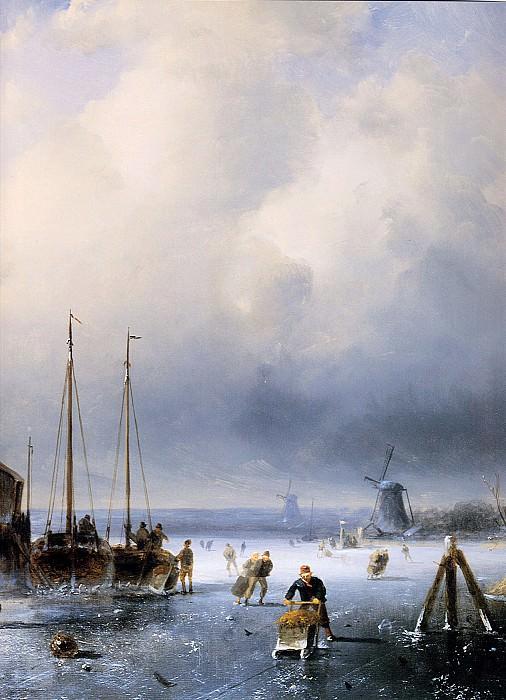 Winterlandscape with frozen ships detail. Charles Henri Joseph Leickert
