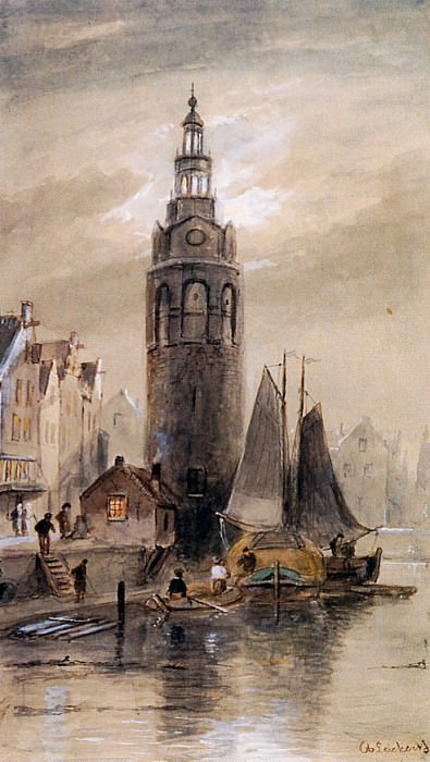 Montelbaanstoren in Amsterdam. Charles Henri Joseph Leickert