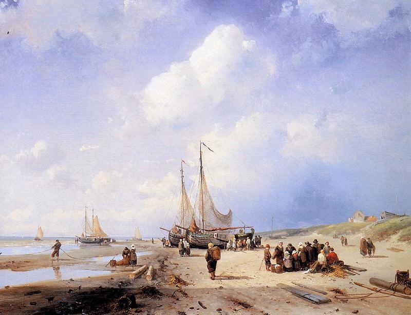 Coastal scene with fisherfolk. Charles Henri Joseph Leickert