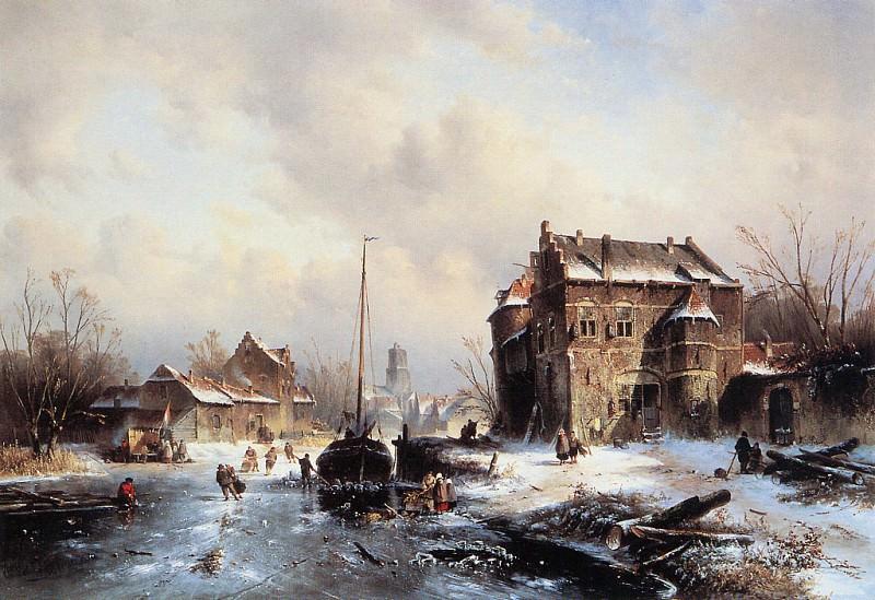 Winterlandscape with frozen canal. Charles Henri Joseph Leickert