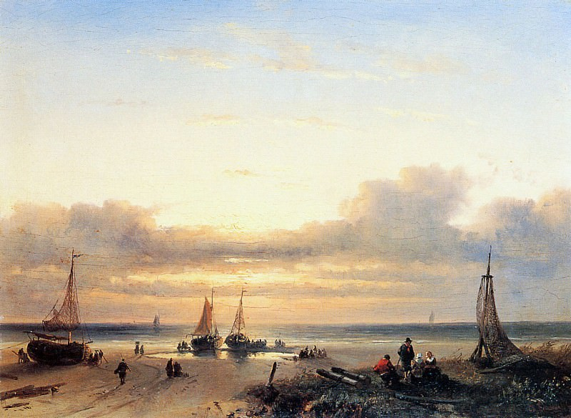 Moored fisherboats on a beach. Charles Henri Joseph Leickert