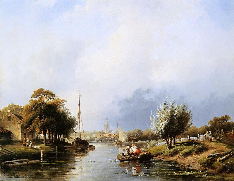 Summer river landscape. Charles Henri Joseph Leickert