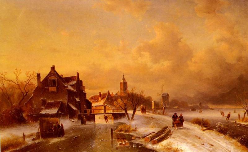 Winter And Summer Canal Scenes-Scene 1. Charles Henri Joseph Leickert