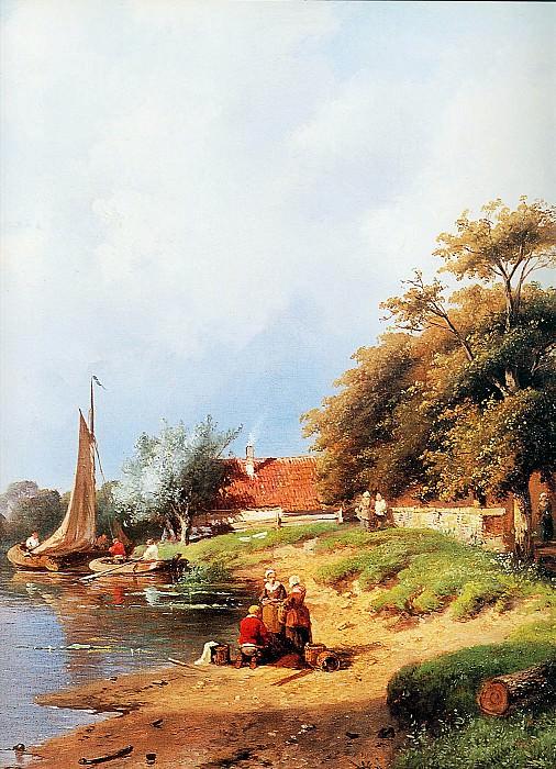 Summer river landscape detail. Charles Henri Joseph Leickert