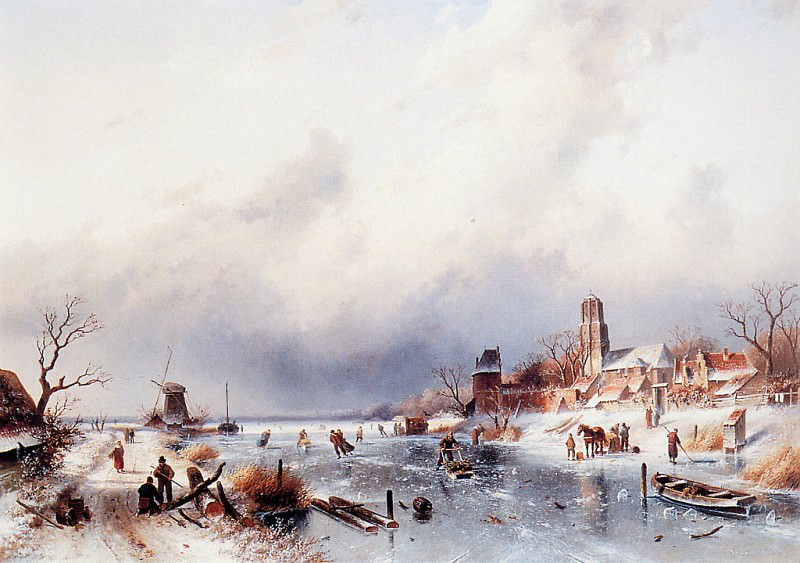 Dutch winter scene. Charles Henri Joseph Leickert