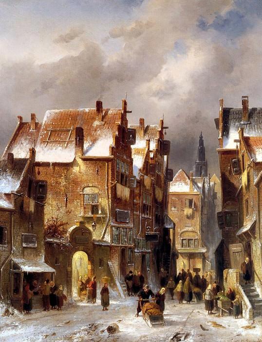Street view in winter. Charles Henri Joseph Leickert