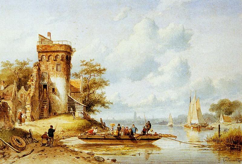 Leiclert Charles Riverlandscape with ferry Sun. Charles Henri Joseph Leickert