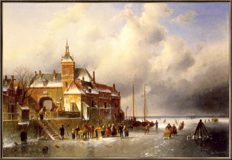 Winter-Landscape. Charles Henri Joseph Leickert
