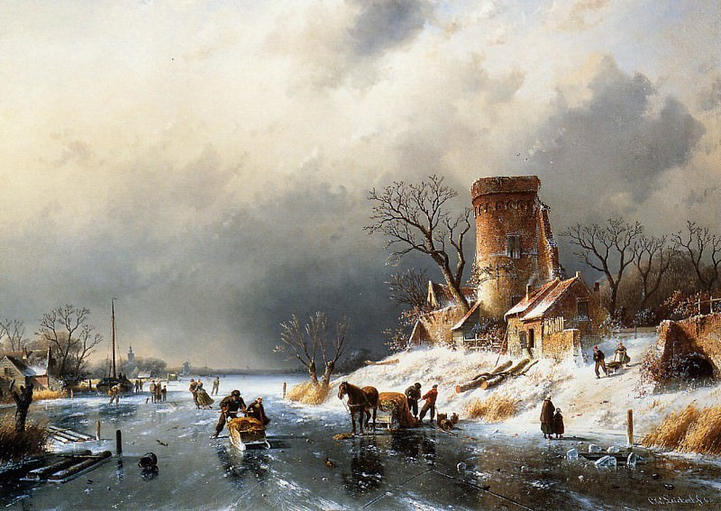 Dutch winter scene. Charles Henri Joseph Leickert