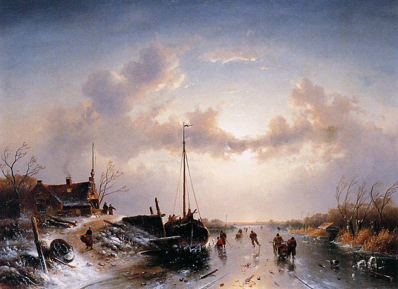 Сцена на реке зимой. Шарль Анри Жозеф Лейкерт