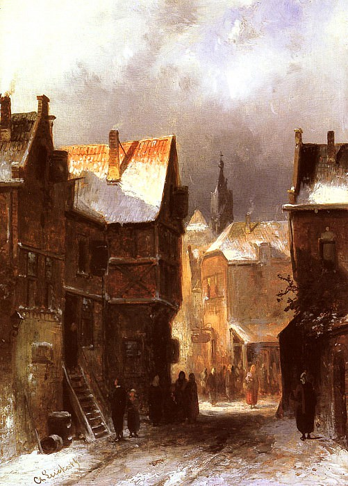 A Dutch Town In Winter. Charles Henri Joseph Leickert