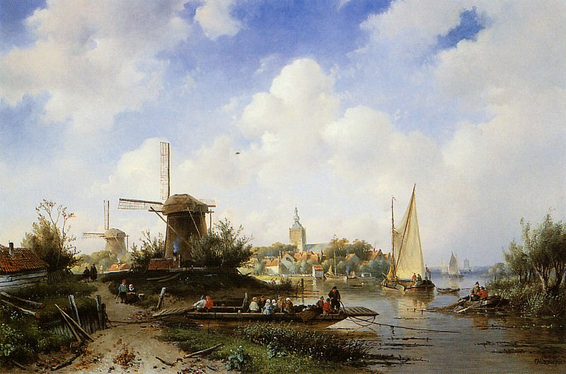 River scene. Charles Henri Joseph Leickert